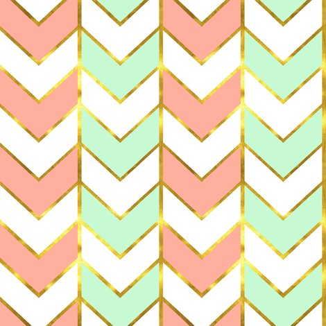 Mint And Coral Chevron Background Gilded Herringbone in ...