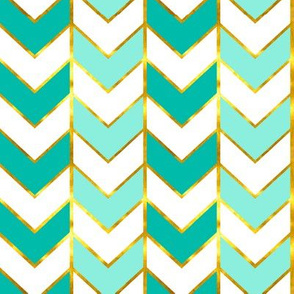 Gilded Herringbone in Shades of Aqua