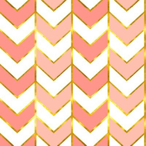 Gilded Herringbone in Shades of Coral