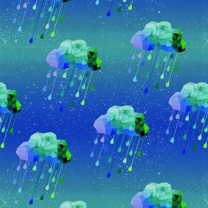 Aqua Rain and Stars
