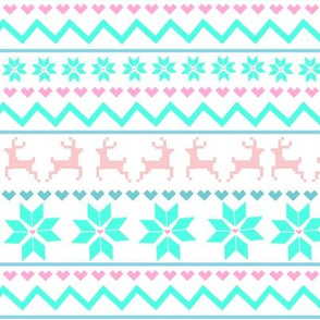 Fair Isle Blue Pink Cotton Candy
