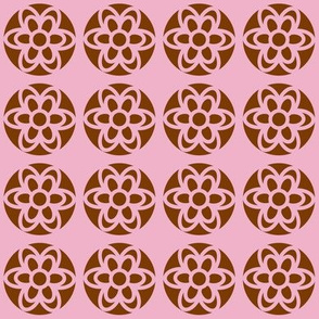 retro flowers pink-brown