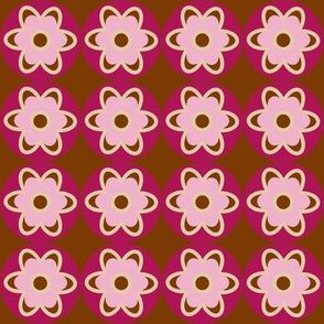 retro flowers brown pink
