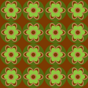 retro flowers green and brown