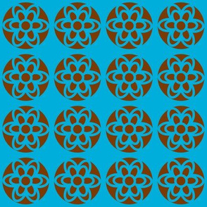 retro flowers blue brown
