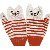 Child's Kitten Mittens - red stripped
