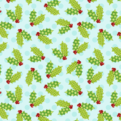 Polka Dots on Blue Holly Leaves
