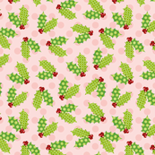 Holiday Holly with Pink Polka Dots