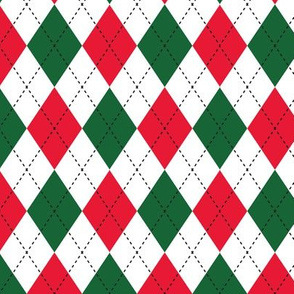 Argyle Red, Green & White