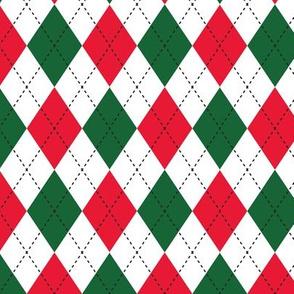 Argyle Red, Green & White