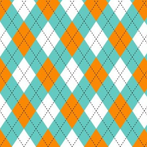 Argyle Aqua & Orange