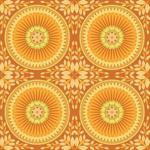 Orange Floral Medallion