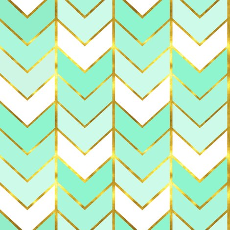 Teal chevron print background teal chevron background patterns - Gilded Ombre Herringbone In Mint Fabric