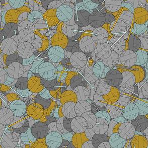 Yarn balls - yellow and gray