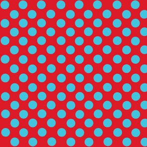 Santa's Wonderland Polka Dot Christmas Lt Blue/Red-ch