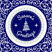 Season's Greetings Blue Scroll