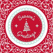 Season's Greetings Red Scroll