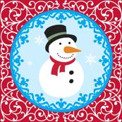 Season's Greetings Red Snow Man