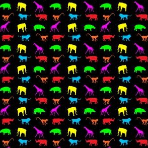 African Safari Animals on Parade -- Red, Green, Yellow, Orange, Pink, and Blue on Black