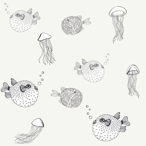 Jellyfish and Pufferfish on Cream