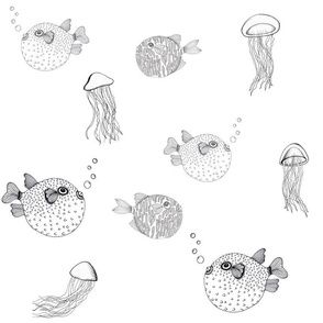 Jellyfish and Pufferfish on White