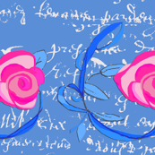 Cornflower_blue_french_script_with_vines_and_roses