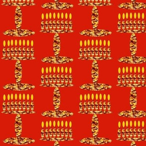 Menorah on Red