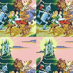 vintage retro wizard of oz Dorothy toto tin wood man scarecrow cowardly lion palace caste emerald city fairy tales horse boy mountain hills sun clouds