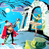 vintage dancers night moon trees neo classical roman columns pillars stars ballerina ballet perform musician mandolin harlequin masquerade masks