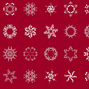 musical snowflakes large on crimson