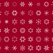 musical snowflakes on crimson