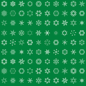 musical snowflakes on deep green