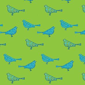 Blue Birds on Green