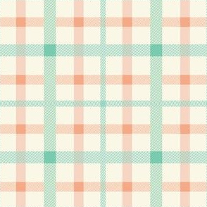 plaid tartan mint peach ivory