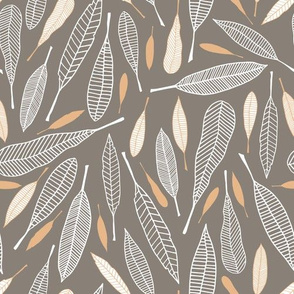Fanciful Feathers (Taupe)