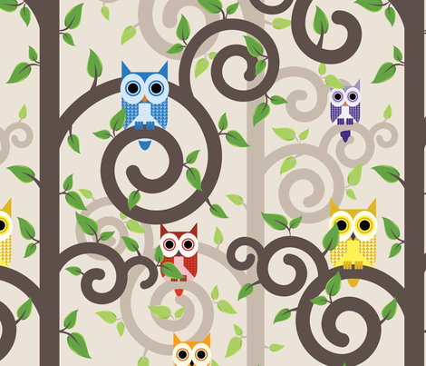 Owls in Swirly Trees