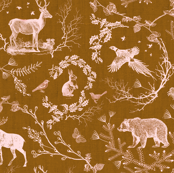 Woodland Winter Toile (in  Tobacco)