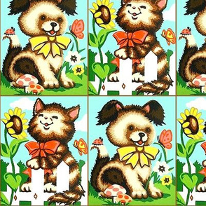 vintage retro kitsch cats pussy kittens dogs puppies puppy garden grass sunflowers garden butterflies mushrooms flowers bugs