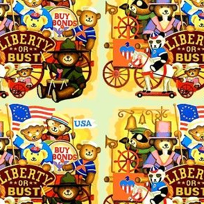vintage retro kitsch teddy bears USA american patriots independence day flags revolution soldiers drums horses betsy ross sailors uncle sam liberty