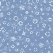 wind-blown musical snowflakes on frosty blue