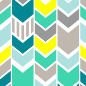 Teal Gray Yellow chevron