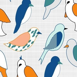 Birds Of Many Colors (linen version)