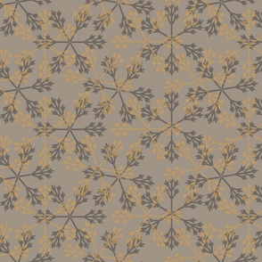 snowflakes gray gold