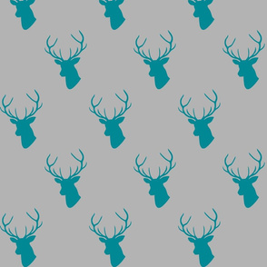 Teal Gray Deer Silhouettes