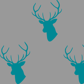 Teal Deer Silhouettes on Gray