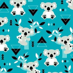 Koala winter blue geometric australian animal kids fabric