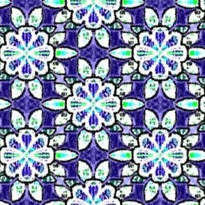 Royal Blue Velvety Floral