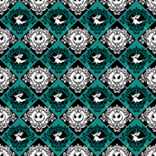 Jack Damask Teal Nightmare Before Christmas