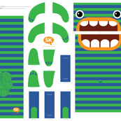 Hungry Monster Laundry Bag: Green/Blue