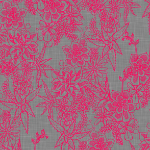 SUCCULENT - fuchsia + gray linen
